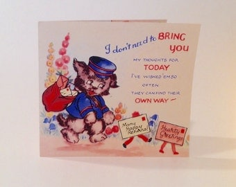 Vintage Postdog Birthday card (unused)