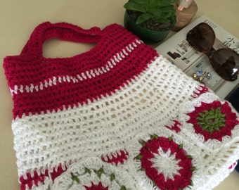 white and rose red crochet bag