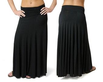 Solid Color Maxi Skirt - Black - 2367K