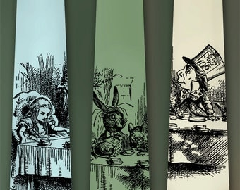 Alice in Wonderland Necktie - Mad Hatter Tie - March Hare Neck Tie - Lewis Carroll - John Tenniel