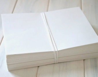 "Set of 125 Linen or Smooth Luxurious White Envelopes in A2, A6, A7, 6"" Square"