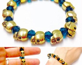Gold Skull Bracelet - Beaded Skull Bracelet - Blue Beaded Skull Bracelet - Mens Skull Bracelet - Skull Bracelet - Skull Bead Bracelet