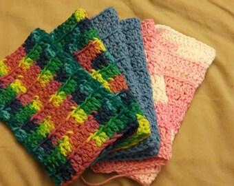 Three Crochet Dishcloths
