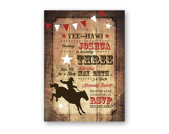 Cowboy Rodeo Birthday Invitation - Printable Birthday Invitation - Digital Invitation - Digital File