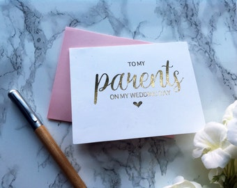 Gold Foil with heart 'To my parents on my wedding day' Card