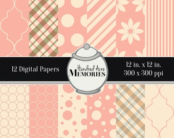 Digital Papers, Baby Pink Nursery Prints, 12 inches x 12 inches, 300 ppi (dpi), Scrapbooking and Craft Papers, Downloadable and Printable