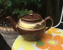 "Vintage Staffordshire ""Brown Betty"" Brown and Gold Teapot by James Sadler and Sons"
