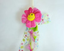 """24"""" Easter Greek Candle Lambada Decorated with a Daisy soft toy and Easter ribbons"""