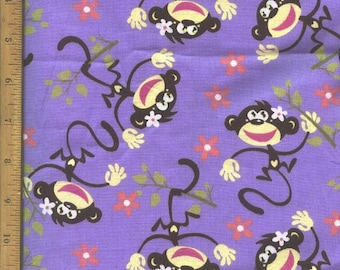 Monkey with branches (lavender background) Fabric, Home Decor Quilting Crafting
