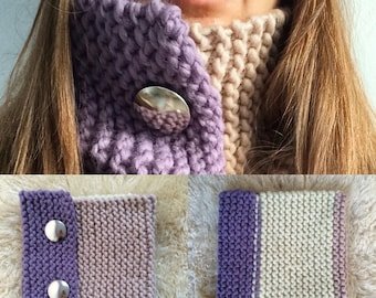 Lilac and beige handmade wool cowl/scarf