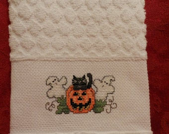 Cross Stitch Halloween Towel W/ Cat, Pumpkin & Ghost