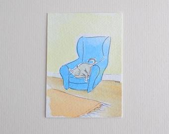 Aceo, Original Watercolour Cat