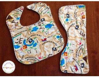 Bib and Burp Cloth - Pirate Map - Handmade Baby Gift Set