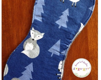 Burp Cloth - Blue with Grey Foxes