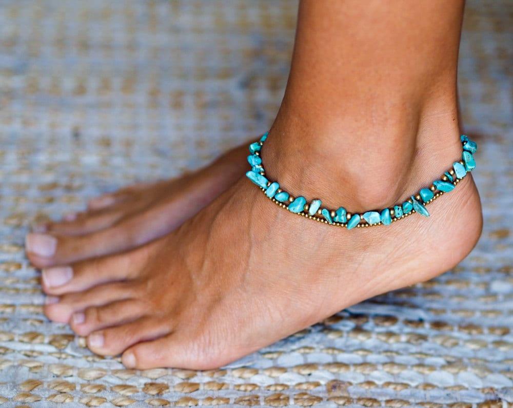 turquoise anklet turquoise ankle bracelet for women. Black Bedroom Furniture Sets. Home Design Ideas