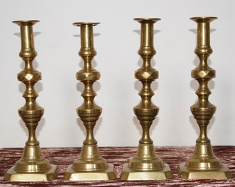 Antique Victorian Large Brass Candlesticks Diamond & Beehive Style