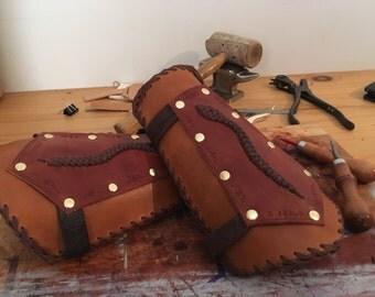 Snake-Braid Leather Bracers