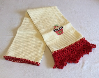 Kitchen Tea Towel with Red Crochet Lace