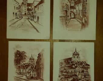 Lot of 4 Mini lithographs by Robert Fertier
