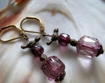 Baroque-Ear Jewellery-earring-earrings-pink-gold-salmon Baroque pearls from bohemia-bohemian glass beads-festive jewellery