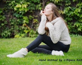 Hand knit - Jumper - baby alpaca, merino, acrylic