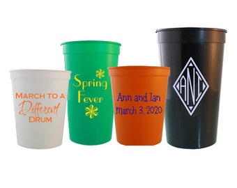 250 Personalized Custom Stadium Cups Great for Weddings, Birthdays, Parties - Gifts for Friends & Family - Multiple Size Options Available