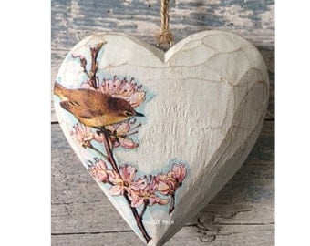 Wooden Heart, hanging heart, Rustic, Shabby Chic, House warming, wedding, Love,