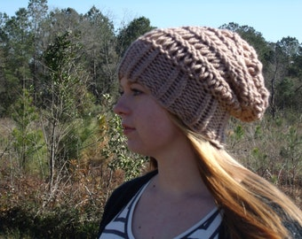 Open weave slouch beanie