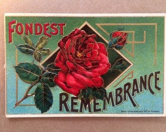 Vintage Embossed Rose Postcard // Fondest Remembrance
