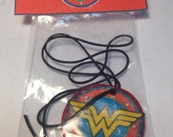 Wonder Women necklace party favors (set of 6) polymer clay/ decoupage