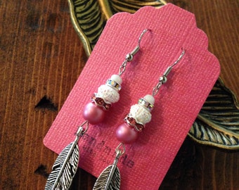 Pink and White Feather Earrings