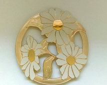 On Sale Vintage WM A. Rogers LTD Japan Trivet, Brass with White Enamel Daisy Design-Rare find design!
