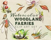 Watercolor Woodland Faerie Tale Clipart Set - INSTANT DOWNLOAD - 15 Graphics, High Res, PNG, Fairy, Mushrooms, Leaves, Stones, Fantasy