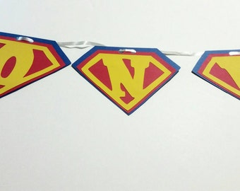 Superman  Themed 1st birthday banner , super hero  themed high chair banner ,Super man  one sign