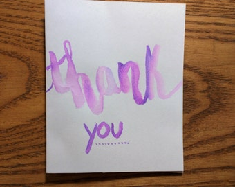 Handpainted Watercolor Thank You Cards