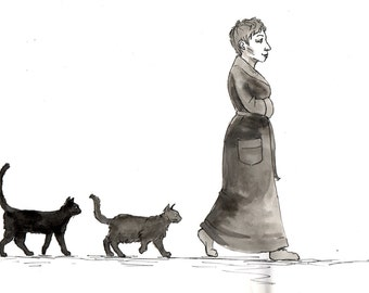 cat lady, with cats