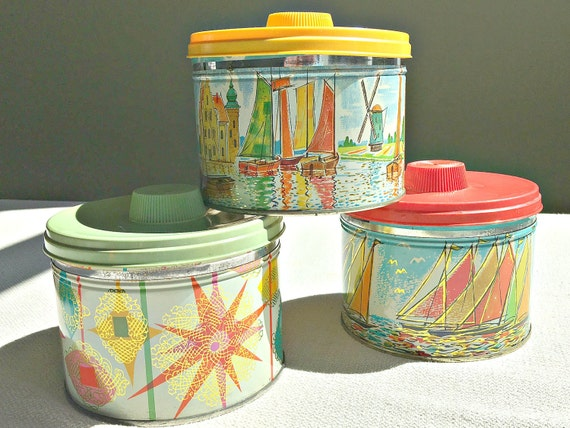 colorful kitchen canister sets 1960 s kitchen tin canister set lot of 3 colorful prints 5569