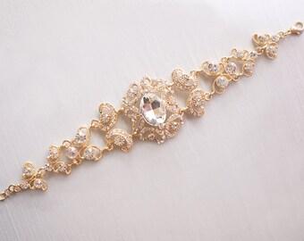 Vintage Wedding Bracelet, Vintage Gold Bracelet, Bridal Bracelet, Artdeco Gold Bracelet, Gold Wedding Bracelet,  Art deco Bracelet, Ref ELSA