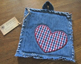 One-of-a-kind Recycled Denim Potholder with Embroidered Checkered Heart