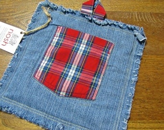 One-of-a-kind Recycled Denim Potholder with Plaid Shirt Pocket