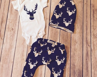 Deer Baby Pants   Deer onesie  Coming Home Outfit  Baby Boy Deer Outfit   Boy Harlem Pants  Deer Clothes