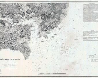 1854 Nautical Map of Portsmouth Harbor New Hampshire