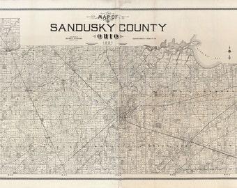 1891 Farm Line Map of Sandusky County Ohio Fremont Woodville