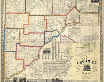 1861 Map of Lucas County Ohio