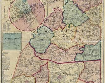 1877 Map of Marion and Washington County Kentucky Lebanon