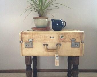 Vintage Rawhide Suitcase End Table
