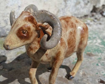 Big Horn Sheep Ceramic Sculpture