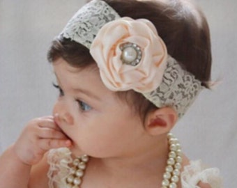 Flower lace headband, flower girl, photo prop