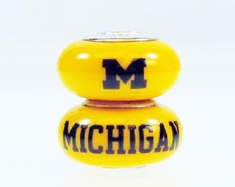 Michigan Wolverines Glass Bead Fits European Style Bracelets