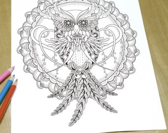 Wisdom Owl - Adult Coloring Page Print